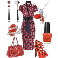 """""""coral and black"""" by shelly-douglas-koehler on Polyvore"""