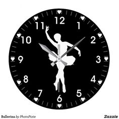 Ballerina White Silhouette On A Black Background hearts clock (large)
