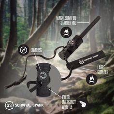 BEST Fire Starter - SurvivalSPARK Emergency Magnesium Fire Starter - Survival Fire Starter with Compass and Whistle