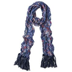 AEO Paisley Skinny Tassel Scarf ($15) ❤ liked on Polyvore featuring accessories, scarves, american eagle outfitters, summer shawl, paisley shawl, summer scarves and paisley scarves