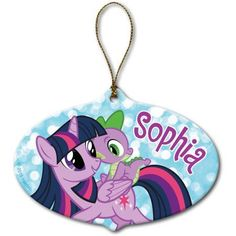 Celebrate the season My Little Pony style! Our My Little Pony Twilight Sparkle and Spike Ornament displays the famous pair of characters underneath a name of your choice. Made of ceramic in the US, this custom piece of Christmas decor is perfect for a My Personalized Gifts For Kids, Personalized Christmas Ornaments, Xmas Ornaments, Christmas Decorations, My Little Pony Fotos, My Little Pony Pictures, My Little Pony Twilight, Geek Movies, Gift Maker