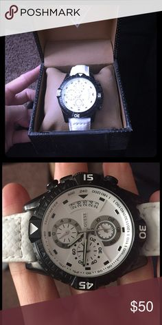 Men's black and white watch Guess black and white men's watch. Comes with watch box Guess Accessories Watches