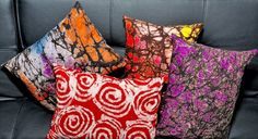 Batik Printed Pillows by Divine NY & Co. via Cathy Lara, sfgate #Batik #Pillows #Cathy_Lara #sfgate #Divine_NY_&_Co
