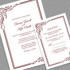 scroll border 2017 wedding invitation template rsvp