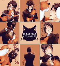 black butler, cats, and manga image