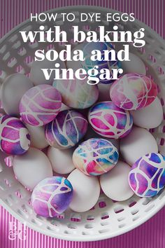 All you need for these DIY tie-dye eggs is baking soda, vinegar, and gel food coloring. The fizzing combination of the baking soda and vinegar distributes the food coloring into a graphic tie-dye patt Diy Tie Dye Eggs, Tie Dyed Easter Eggs, Shaving Cream Easter Eggs, Diy Projects Easter, Easter Crafts, Crafts For Kids, Egg Decorating, Decorating Blogs, Decorating Easter Eggs