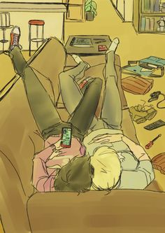 Couch Sharing by misaki-chaaan. // I'm presuming this is uni!lock, because I mean LOOK at it.