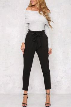 Tie Waist Cropped Trousers – Behind Hemlines Work Fashion, Fashion Pants, Daily Fashion, Fashion Looks, Fashion Outfits, Womens Fashion, Style Fashion, Dinner Outfits, Fall Outfits