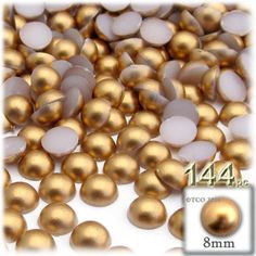 144-pc Pearl finish Half Dome Beads, Round, 8mm, Golden Caramel Brown