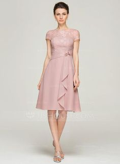 A-Line/Princess Scoop Neck Knee-Length Chiffon Lace Mother of the Bride Dress With Beading Flower(s) Sequins Cascading Ruffles (008062576)