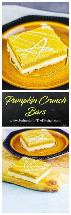 #Pumpkin Crunch Bars are better than pumpkin pie. The #shortbread crust has a touch of ground #pecans in it for that crunch factor. via @SeductionRecipe