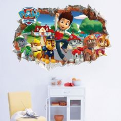 Paw Patrol Background Children'S Room Bedroom Wall Stickers Waterproof Removable Mural Art Home Decor Through wall Paw Patrol Wall Decals, 3d Wall Decals, Cheap Wall Stickers, Removable Wall Stickers, Wall Stickers Home Decor, Vinyl Wall Art, Wall Art Decor, Mural Art, Kids House