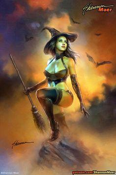 Fantasy Art Women, Dark Fantasy Art, Fantasy Girl, Fantasy Artwork, Dark Art, Fantasy Witch, Witch Art, Halloween Painting, Halloween Art