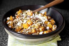 Smitten Kitchen; butternut squash, farro, goat cheese, cranberries