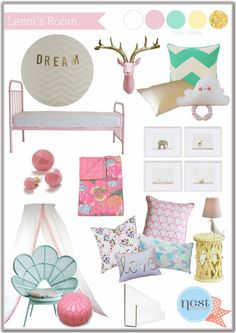Nursery colors. Pink, teal, yellow