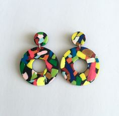 Bold Statement Modern Art Inspired Clay Drop Earrings by cbrdesign on Etsy