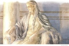 'Close to the fire her women drew her favorite chair..here PENELOPE took her place...as she listened on, her tears flowed and soaked her cheeks...weeping for him, her husband, sitting there beside her.' - Homer's Odyssey, Book 19 (Alan Lee/Robert Fagles/user: Aethon)