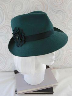 Bottle green fur felt fedora with vintage silk ribbon by Silverhill Creative Millinery, $270.00