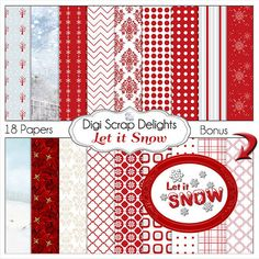Red and White Snow Digital Papers Poinsettias by DigiScrapDelights#White #Red  #Scrapbook #Christmas #Digital #Printable #DIY