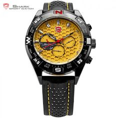Shortfin SHARK Sport Watch Date Day Black Stainless Case Leather Band Strap Yellow Analog Quartz Relogio Mens Wrist Watch SH083 (724212703)  SEE MORE  #SuperDeals