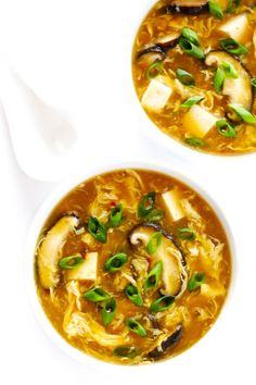 amazing Hot and Sour Soup recipe is super-easy to make in just 25 minutes, and tastes even better than the Chinese restaurant version! It's also a great healthy dinner recipe that's naturally vegetarian and gluten-free. Healthy Dinner Recipes, Soup Recipes, Cooking Recipes, Chili Recipes, Hot And Sour Soup, Spicy Soup, Gimme Some Oven, Chili Garlic Sauce, Soy Sauce