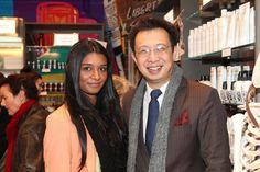 Lucire designer Tania Naidu and publisher Jack Yan at the Kiehl's launch at Kirkcaldie & Stains, Wellington, May 2012.
