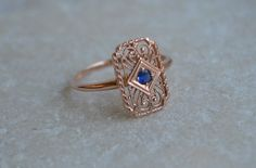 Art Deco Reproduction Emerald Filigree Ring in 14K Rose Gold with Burma Sapphire