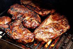 Louis Pork Steaks Recipe A St. What's a pork steak? A pork butt cut in steaks. With some rub and sauce. Pork Shoulder Steak, Grilled Pork Steaks, Grilled Steak Recipes, Grilled Meat, Smoked Pork Steaks Recipe, Baked Pork, Oven Baked, Pork Rib Recipes, Barbecue