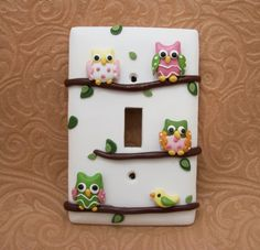 Ava Owls on Branches Lightswitch cover Pink Polymer Clay, masa flexible