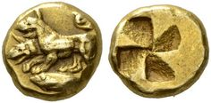 A Rare and Exceptional Greek Electrum Hekte of Kyzikos (Mysia), with a Rare Depiction of Cerberus by Ancient Art, via Flickr