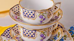 Mosaic and Flowers Herend Porcelain - (MTFC) - Herend Austria Tea Sets, Mosaic, Cups, Porcelain, Blue And White, Dinner, Tableware, Flowers, Decor