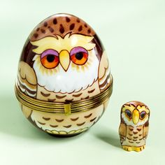 Limoges Owl egg box with baby owl