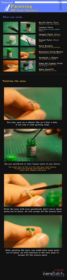 This tutorial will teach you how to paint the clear eyes/sensors that comes with your MG kits using a technique not much knows Modeling Techniques, Modeling Tips, Gunpla Custom, Custom Gundam, Gundam Tutorial, Warhammer Paint, Warhammer 40000, Gundam Mobile Suit, Oil Light