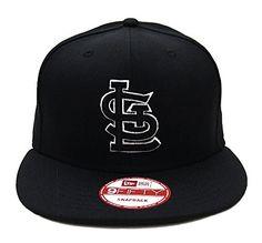 St. Louis Cardinals New Era Black Logo White Outline Snapback Cap Hat Black c5d406cec1f0