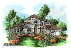 Mediterranean House Plan: 2 Story Coastal California Style Floor Plan
