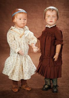 At Play in a Field of Dolls (Part 1 of 2-Vol set): 113 American Carved Wooden Girl by Schoenhut with Sculpted Hair and Blue Band