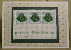 cross stitched christmas trees card