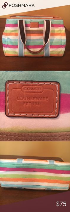 Authentic Coach purse Authentic Coach purse in good condition. Some wear on bottom corners but not very noticeable. Super cute colors for summer. Zipper works. Clean on the inside. Very well cared for. Feel free to ask questions or request additional info. Reasonable offers accepted 😊 Coach Bags Shoulder Bags