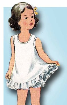 1940s Vintage Simplicity Sewing Pattern 4882 Toddler Girls Slip & Panties Size 6 #Simplicity #SlipPattern