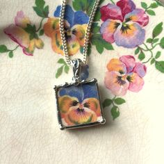 Broken china jewelry pendant necklace antique beautiful antique blue yellow pansy floral china