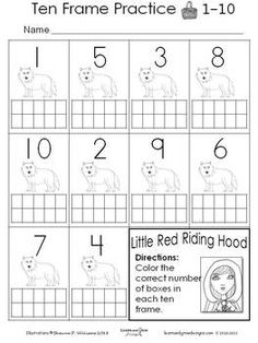 "I hope that you enjoy your Little Red Riding Hood Ten Frame Practice Page brought to you by Learn and Grow Designs. This activity lets your students practice coloring in the correct number of boxes on the ten frame according to the corresponding number. I have included numbers 1-10 on this activity. Directions: Once you receive your PDF file you will need to print out the Little Red Riding Hood Ten Frame Practice Page Each page prints out to a standard 8 1/2"" x 11"" page. Artwork ..."