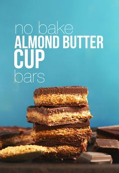 AMAZING Creamy Fudgy No Bake Almond Butter Cup Bars in 20 MINUTES! #vegan #glutenfree #chocolate #almondbutter #recipe