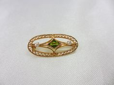 Antique 10k Yellow Gold Filigree Seed Pearl and Natural Peridot Pin by Loveysite, $280.00