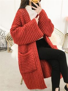 2018 Women Solid Thick Knitted Cardigan Autumn Winter Pocket Coarse Line Long Sweaters Flare Sleeved Loose Coats Chunky Knit Cardigan, Crochet Cardigan, Red Cardigan, Sweater Jacket, Long Sleeve Sweater, Long Paragraphs, Hijab Style, Long Sweaters, Cardigans For Women