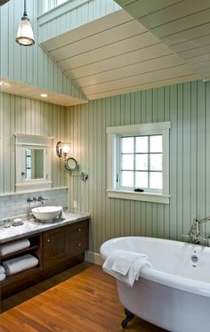 "Cottage in Maine: paint is ""Sea Salt"" from Sherwin Williams SW6204  Wainscoting with glass subway tile, very pretty."