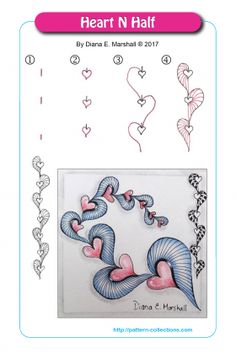 Ink Drawings Tangle Pattern Heart N Half ~ zentangle, zendoodle, doodle Art, pen and ink drawing Tangle Patterns, Doodle Patterns, Drawings, Drawing Tutorial, Tangle Doodle, Flower Drawing, Art, Zentangle Patterns, Doodle Drawings