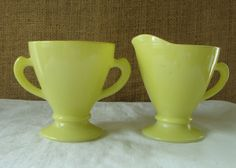 MID CENTURY Electric Lemon Yellow Anchor Hocking Glass Sugar Creamer Set - Mid Century Colored Glass