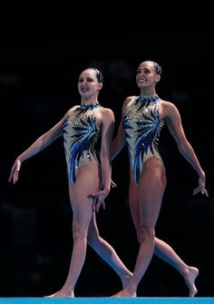 Jenna Randall and Olivia Federici compete during the Synchronized Swimming Duet Free Final on day six of the 15th FINA World Championships at Palau Sant Jordi on July 25, 2013 in Barcelona, Spain.