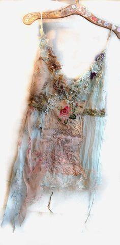 RESERVED For MS Unique Art To Wear Lovely Pale Blue Top ROMANTIC GirlL Boho Gipsy Antique Marie AntoinetteTattered Hippie Feminine