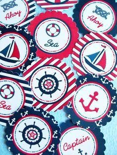 A Preppy Nautical Birthday Party Deserts Table Sailor Party, Teddy Bear Birthday, Party Fiesta, Nautical Party, Nautical Signs, Under The Sea Theme, Bird Party, Singing Happy Birthday, 1st Birthday Parties